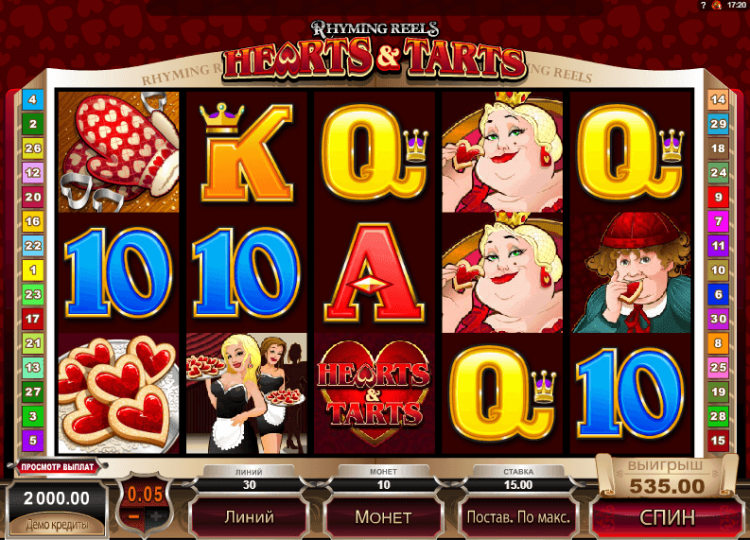 Игровое поле Rhyming Reels Queen of Hearts